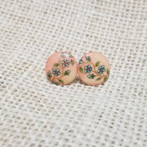 Vintage Floral Button Stud Earrings